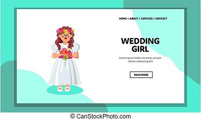 vecteur, mariage, vêtements, girl, cérémonial, porter