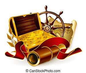 vecteur, marin, emblème