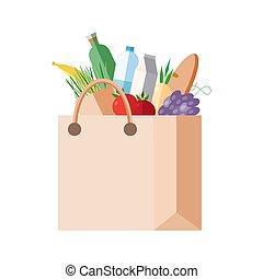 vecteur, market., épicerie, concept, achats, coloré, entiers, légumes, nourriture, paquet, sac, papier, laitage, fruits, frais, illustration., magasin, purchases., products.