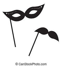 vecteur, masque, retro, props., icône, moustache
