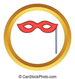 vecteur, masque, rouges, carnaval, icône