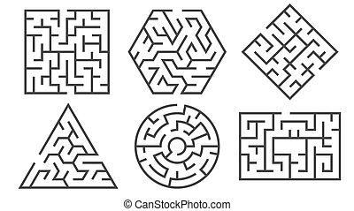 vecteur, maze., chemins, entrée, trouver, différent, manière, graphique, mal, labyrinthe, rebus, formes, beaucoup, droit, jeu, énigme, énigme, ensemble, logique, ou
