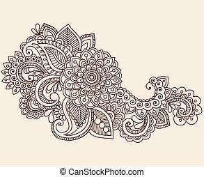vecteur, mehndi, doodles, tatouage, henné