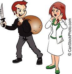 vecteur, menacer, femme, cambrioleur, knife.