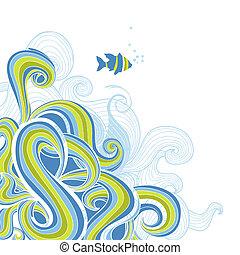 vecteur, mer, fond, vagues