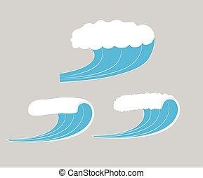vecteur, mer, vagues