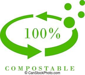 vecteur, meterial, compostable, icône