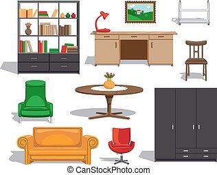 vecteur, meubles