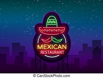 vecteur, mexicain, projects., restaurant, signe, signe., néon, illustration, symbole, nightly, clair, annonce, conception, gabarit, bannière, lumineux, nourriture., ton, logo, lueur