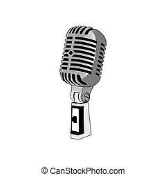 vecteur, microphone, classique