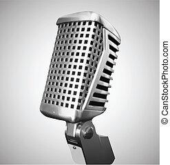 vecteur, microphone., classique