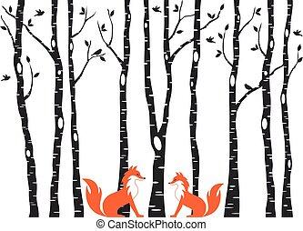 vecteur, mignon, arbres, renards, bouleau