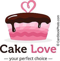 vecteur, mignon, brillant, rose, gâteau, logo, à, chocolat,...