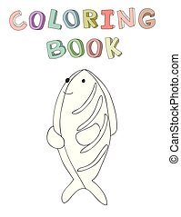 vecteur, mignon, coloration, simple, caractère, fish, illustration, style., contour, livre, dessin animé