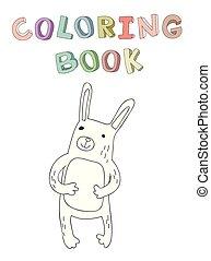 vecteur, mignon, coloration, simple, caractère, illustration, style., contour, livre, lapin, dessin animé