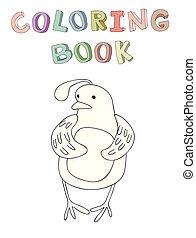 vecteur, mignon, coloration, simple, caractère, illustration, style., livre, caille, dessin animé, contour
