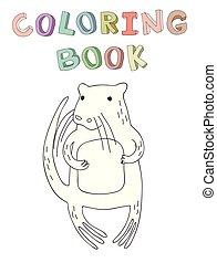 vecteur, mignon, coloration, simple, caractère, illustration, style., livre, castor, dessin animé, contour