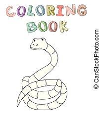 vecteur, mignon, coloration, simple, caractère, illustration, style., livre, serpent, dessin animé, contour