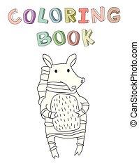 vecteur, mignon, coloration, simple, caractère, illustration, style., livre, zebra, dessin animé, contour