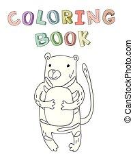 vecteur, mignon, coloration, simple, caractère, illustration, style., tigre, livre, dessin animé, contour