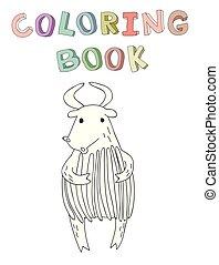 vecteur, mignon, coloration, simple, caractère, ou, illustration, contour, livre, yak, taureau, style., dessin animé