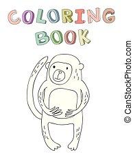 vecteur, mignon, coloration, singe, simple, caractère, illustration, style., livre, dessin animé, contour