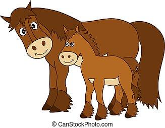 vecteur, mignon, dessin animé, cheval, à, poulain