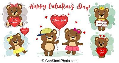 vecteur, mignon, différent, ensemble, coeur, plat, brun, six, accessoires, ours, dessin animé, day., balloon, conception, valentines, caractères, letter., poses, style., rouges, heureux