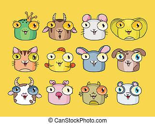 vecteur, mignon, ensemble, animal, illustration