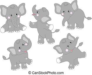 vecteur, mignon, ensemble, dessin animé, éléphants