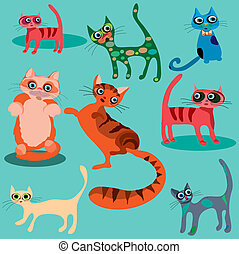 vecteur, mignon, ensemble, dessin animé, cats.