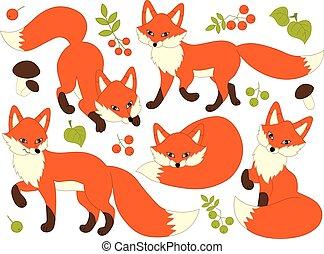 vecteur, mignon, ensemble, dessin animé, renards