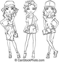 vecteur, mignon, ensemble, filles, mode