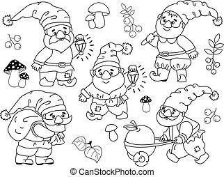 vecteur, mignon, ensemble, gnomes, dessin animé