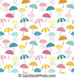 vecteur, mignon, gosses, parapluie, coloré, modèle, seamless, pluie, papier, produits, nuages, habillement