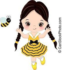 vecteur, mignon, petite fille, à, abeille
