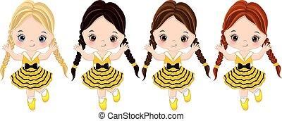 vecteur, mignon, petites filles, à, divers, cheveux, couleurs