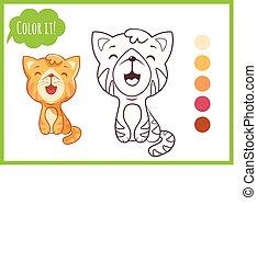 vecteur, mignon, peu, coloration, contour, preschool., caractère, chaton, isolé, cat., livre, arrière-plan noir, blanc, dessin animé