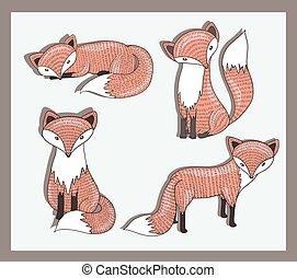 vecteur, mignon, peu, ensemble, renard