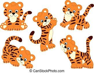 vecteur, mignon, tigres, ensemble, dessin animé