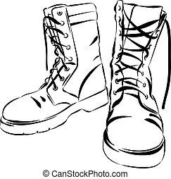 vecteur, militaire, cuir, porté, bottes, illustration