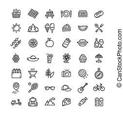 vecteur, mince, noir, ligne, set., pique-nique, icône