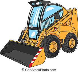 vecteur, mini, excavateur