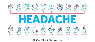 vecteur, minimal, mal tête, infographic, bannière