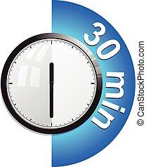 vecteur, minutes, minuteur, illustration, 30