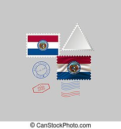 vecteur, missouri, timbre, image, flag., illustration., état, affranchissement