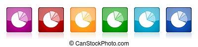 vecteur, mobile, 6, carrée, icône, lustré, diagramme, conception, applications, illustrations, ensemble, toile, options, coloré