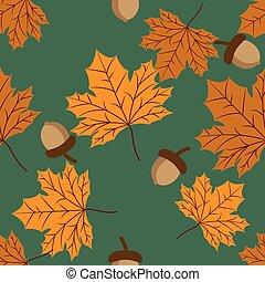 vecteur, modèle, acorn., feuilles, seamless, floral, automne