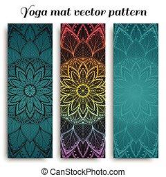 vecteur, modèle, ensemble, natte yoga