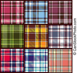 vecteur, modèle, ensemble, seamless, checkered